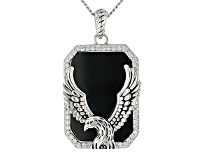 Pre-Owned Black Onyx And White Cubic Zirconia Rhodium Over Silver Mens Eagle Pendant With Chain 15.6