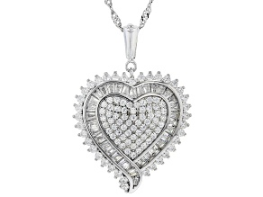 Pre-Owned White Cubic Zirconia Rhodium Over Sterling Silver Heart Pendant With Chain 3.62ctw
