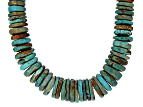 Pre-Owned Graduated Turquoise Rhodium Over Sterling Silver Necklace Strand