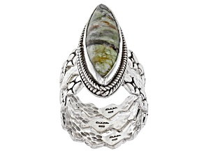 Pre-Owned Australian Green Opal Cabochon Sterling Silver Ring Set Of Three
