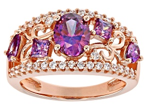 Pre-Owned Purple and White Zirconia From Swarovski ® 18K Rose Gold Over Sterling Silver Center Desig