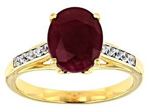 Pre-Owned Red Ruby 18k Yellow Gold Over Sterling Silver Ring 3.32ctw