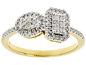 Pre-Owned White Diamond 14k Yellow Gold Over Sterling Silver Cluster Ring 0.25ctw