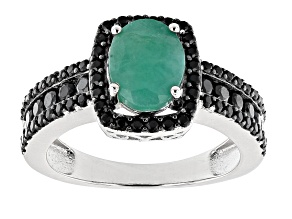 Pre-Owned Zambian Emerald Rhodium Over Silver Ring 2.00ctw