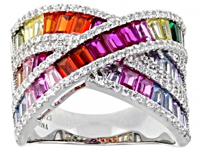 Pre-Owned Multi-Color Cubic Zirconia, Lab Created Spinel, Lab Created Ruby Rhodium Over Silver Ring
