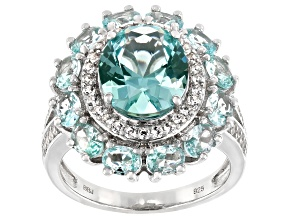 Pre-Owned Green Lab Created Spinel Rhodium Over Silver Ring 5.21ctw