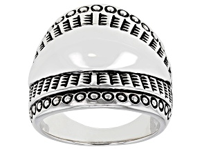 Pre-Owned Rhodium Over Sterling Silver Statement Ring