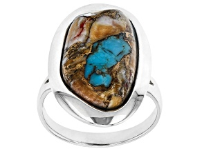 Pre-Owned Blended Turquoise And Spiny Oyster Shell Rhodium Over Silver Solitaire Ring