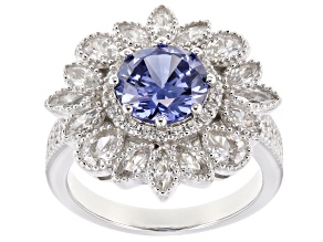 Pre-Owned Blue & White Cubic Zirconia Rhodium Over Sterling Silver Center Design Ring 6.48ctw