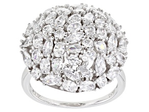 Pre-Owned White Cubic Zirconia Rhodium Over Sterling Silver Ring 4.00ctw