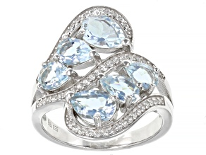 Pre-Owned Aquamarine with White Zircon Rhodium Over Sterling Silver Ring. 2.44ctw