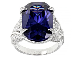 Pre-Owned Blue And White Cubic Zirconia Rhodium Over Sterling Silver Ring 24.55ctw