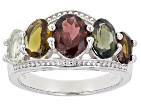 Pre-Owned Multi-color Tourmaline Rhodium Over Sterling Silver Band Ring 3.56ctw