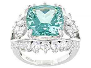 Pre-Owned Lab Created Green Spinel And White Cubic Zirconia Rhodium Over Silver Ring 11.19ctw