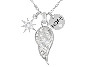 Pre-Owned White Cubic Zirconia Rhodium Over Sterling Silver Inspirational Pendant With Chain 1.37ctw