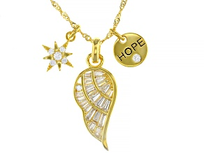 Pre-Owned White Cubic Zirconia 18K Yellow Gold Over Sterling Silver Inspirational Pendant With Chain