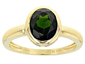 Pre-Owned Green Russian Chrome Diopside 10k Yellow Gold Ring 1.90ct