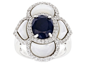 Pre-Owned Blue Sapphire Rhodium Over Sterling Silver Ring 4.04ctw