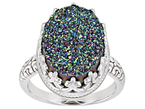 Pre-Owned Rainbow Green Drusy Quartz Rhodium Over Silver Ring
