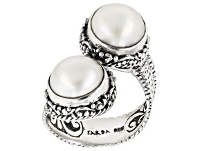 Pre-Owned White Mabe Pearl Silver Ring