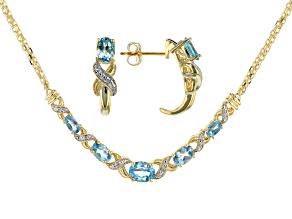 Pre-Owned Swiss Blue Topaz 14k Yellow Gold Over Sterling Silver Necklace And Earring Set 2.90ctw