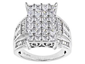 Pre-Owned Cubic Zirconia Silver Ring 5.57ctw (4.02ctw DEW)