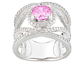Pre-Owned Pink And White Cubic Zirconia Rhodium Over Silver Ring 3.77ctw