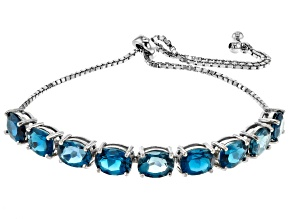 Pre-Owned London bue topaz rhodium over sterling silver adjustable bolo bracelet 11.25ctw