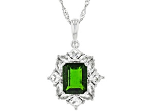 Pre-Owned Green Chrome Diopside Rhodium Over Silver Pendant With Chain 3.16ctw