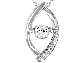 Pre-Owned White Cubic Zirconia Rhodium Over Sterling Silver Dancing Pendant With Chain 0.70ctw