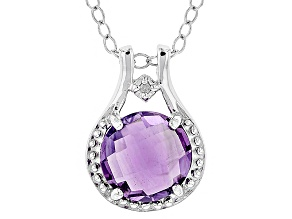 Pre-Owned Purple Brazilian Amethyst Rhodium Over Sterling Silver Pendant With Chain 3.52ctw