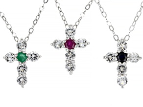 Pre-Owned Blue Sapphire, Ruby & Emerald Rhodium Over Silver Cross Pendant W/Chain Set of 3 0.75ctw