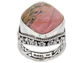 Pre-Owned Australian Pink Opal Silver Floral Solitaire Ring