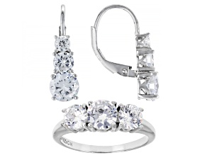 Pre-Owned White Cubic Zirconia Rhodium Over Sterling Silver Ring And Earrings Set 6.50