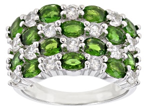 Pre-Owned Chrome Diopside Rhodium Over Silver Ring 3.35ctw