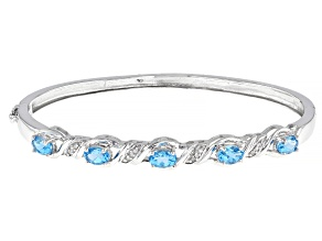 Pre-Owned Blue Topaz Rhodium Over Sterling Silver Bracelet