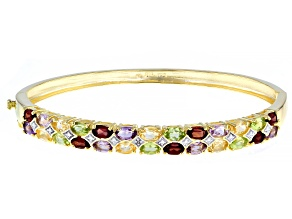 Pre-Owned Multi Gemstone 18k Yellow Gold Over Sterling Silver Bracelet