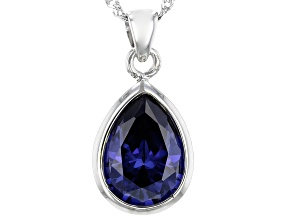 Pre-Owned Blue Cubic Zirconia Rhodium Over Sterling Silver Pendant With Chain 8.30ctw