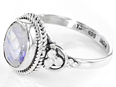 Pre-Owned Rainbow Moonstone Rhodium Over Sterling Silver Ring