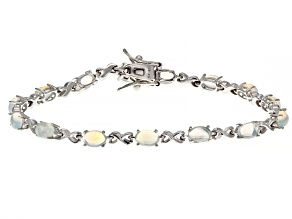 Pre-Owned Multi-color Opal Rhodium Over Sterling Silver Tennis Bracelet