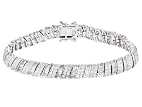 Pre-Owned White Cubic Zirconia Rhodium Over Sterling Silver Tennis Bracelet 9.53ctw