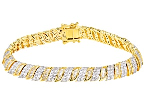 Pre-Owned White Cubic Zirconia 18K Yellow Gold Over Sterling Silver Tennis Bracelet 9.53ctw