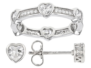 Pre-Owned White Cubic Zirconia Rhodium Over Sterling Silver Heart Ring And Stud Earrings Set 2.75ctw