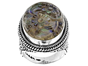 Pre-Owned Multicolor Abalone Shell Silver Ring