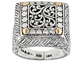 Pre-Owned 18k Yellow Gold Over Sterling Silver Square Filigree Ring
