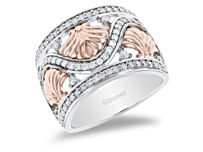 Pre-Owned Enchanted Disney Ariel Seashell Ring White Diamond Rhodium Over Silver And 10K Rose Gold 0