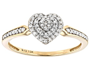 Pre-Owned White Diamond 10k Yellow Gold Heart Cluster Ring 0.15ctw