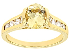 Pre-Owned Yellow beryl 18k yellow gold over silver ring 1.39ctw