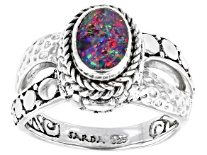 Pre-Owned Australian Opal Triplet Silver Solitaire Ring