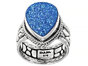 Pre-Owned Baby Blue Moon Drusy Quartz Silver Solitaire Ring